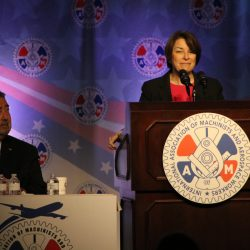 Amy Klobuchar puts her presidential credentials to the IAM
